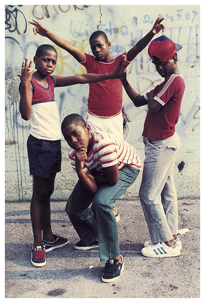 Jamel Shabazz's back in the day old street photographs, four boys posing.